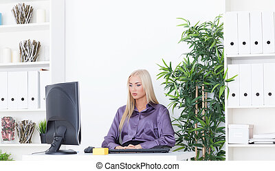 Young beautiful business woman working with computer