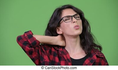Young beautiful businesswoman having neck pain