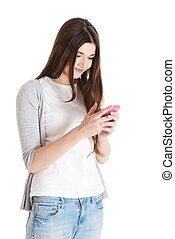 Young beautiful casual woman with mobile phone.