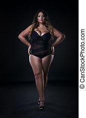 Young beautiful caucasian plus size model in swimsuit, xxl...