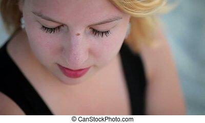 Young beautiful caucasian woman