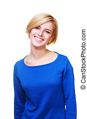 Young beautiful cheerful woman in blue sweater isolated on white background
