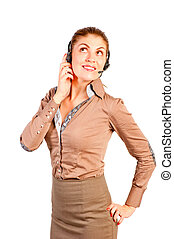 young beautiful consultant with headset on white background