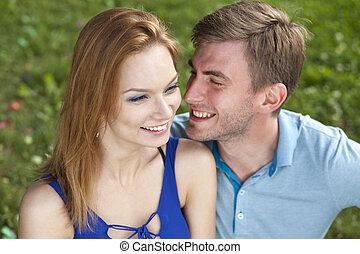 Young beautiful couple close up