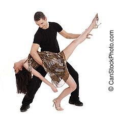 Young beautiful couple dancing