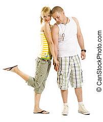 young beautiful couple flirting