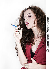 curly long-haired brunette woman with cigarette isolated