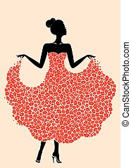 Young beautiful dancer girl in dress of flowers. Elegant woman silhouette isolated on pink background. Vector illustration.