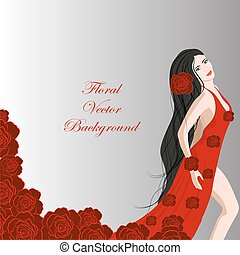 Young beautiful dancer girl in red dress of roses