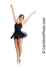 young beautiful dancer girl isolated on white
