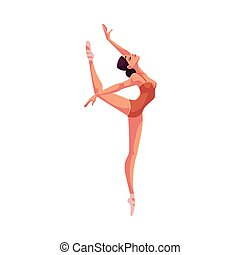 Young beautiful dancer in tights and ballet shoes, cartoon...