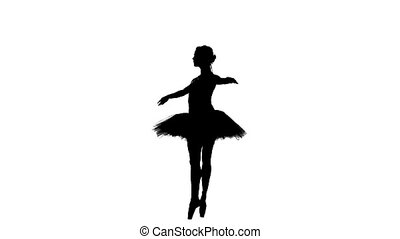 young beautiful dancer posing on a studio, silhouette, slow motion