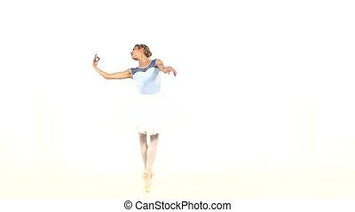 young beautiful dancer posing on a studio, slow motion