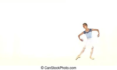 young beautiful dancer posing on a studio. slow motion