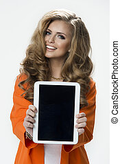 Young beautiful elegant woman with tablet PC