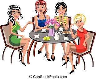 Young beautiful fashion women having coffee and chatting sitting at cafe isolated
