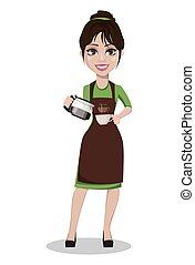 Young beautiful female barista in uniform