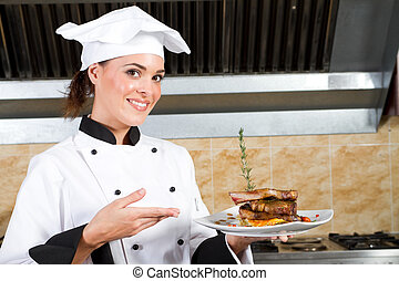 young beautiful female chef