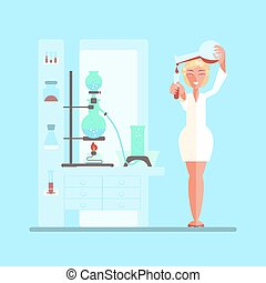 female scientist in lab room