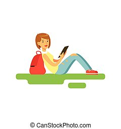 Young beautiful female student sitting on the grass using tablet vector Illustration