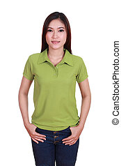 young beautiful female with blank polo shirt - young...
