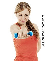 young beautiful fitness woman train with a dumbbell on white background