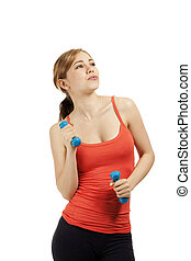 young beautiful fitness woman with dumbbells on white background