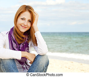 Young beautiful girl at the beach.