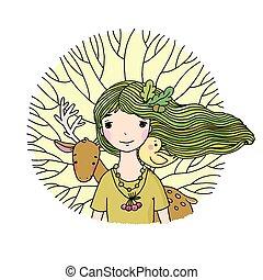 Young beautiful girl fairy, deer, bird and tree.