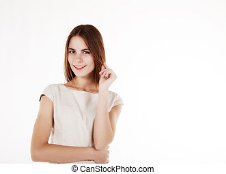 young beautiful girl in a bright dress