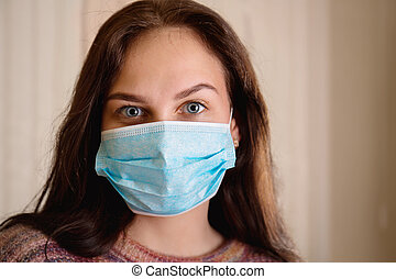 Young beautiful girl in a protective bandage