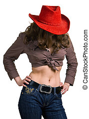 girl in a red hat and jeans