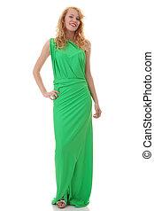 Young beautiful girl in green dress