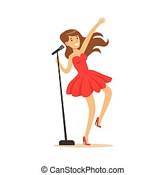 Young beautiful girl in red dress with microphone performing a song vector Illustration
