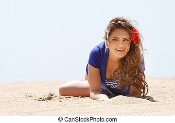 young beautiful girl on beach