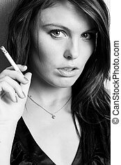 young beautiful girl smoking