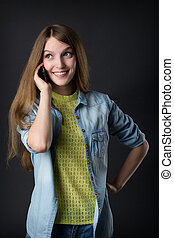 young beautiful girl talking on the phone