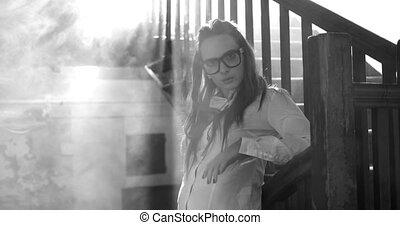 Young beautiful girl wearing school
