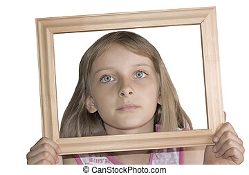 Young beautiful girl with frame