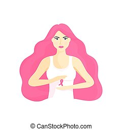Young beautiful girl with magnificent hair holding a pink ribbon in her hands. National Cancer Awareness Month concept.