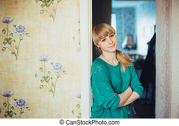 Young Beautiful Girl Woman At Home