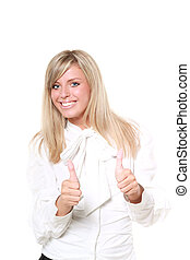 Young beautiful happy blond buisinesswoman with thumbs up isolated on white background