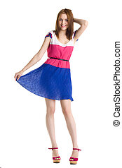 young beautiful happy woman in dress isolated