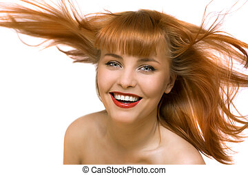 young beautiful happy woman smile isolated