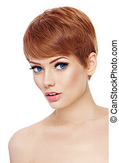 Young beautiful healthy woman with stylish make-up and hair cut