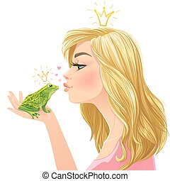 Young beautiful lady kisses a frog