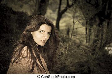 Young beautiful long hair woman portrait