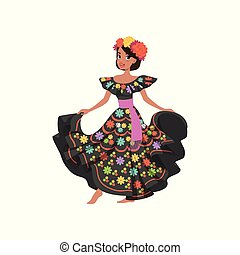 Young beautiful mexican woman in black traditional national dress vector Illustration isolated on a white background.