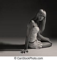 young beautiful model posing, studio shot