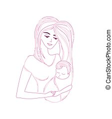 young beautiful mother hugs her child - doodle illustration